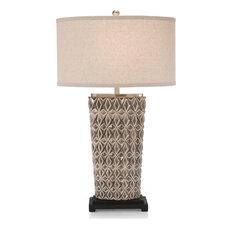 Table Lamp JOHN-RICHARD Geometric 1-Light Oatmeal 2-Tone Gray 3-Way A