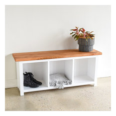 Reclaimed Wood Entryway Cubby Bench