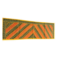 Mogul Interior - Sari Green and Orange Sequin Embroidered Tapestry - Table Runners