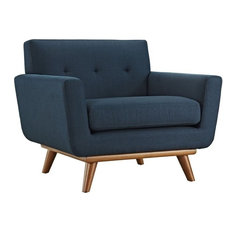 Pemberly Row Modern Upholstered Fabric Accent Chair In Azure