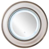 "Halo 36"" Mirror, Bright White with Chrome"