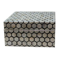 """Luxe Mother of Pearl Inlaid Box 9"""" Honeycomb, Blue White"""