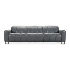 Giancarlo Motion Leather Sofa With Power Headrest, Blue Gray