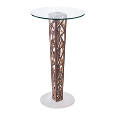 Crystal Bar Table/Walnut Column Brushed Stainless Steel/Tempered Glass Top