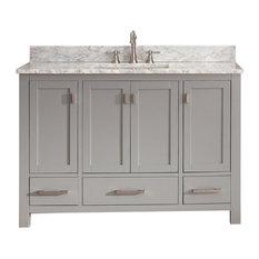 "Avanity Corp - Avanity Modero 49"" Vanity in Chilled Gray finish, Carrera White Marble Top - Bathroom Vanities and Sink Consoles"