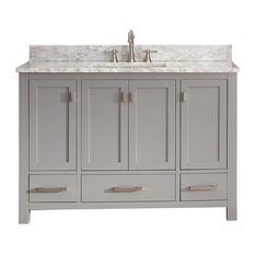 Avanity Modero 49-inch Vanity Chilled Gray Finish Carrera White Marble Top