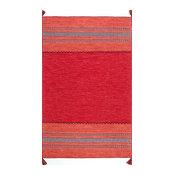 Contemporary Diamond Chenille Tassel Area Rug, Red, 5'x8'