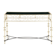 benzara woodland imprts the urban port unique patterned metal glass console table