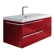 Elegant ISABAGNO   Soho 2 Drawer Vanity With Ceramic Countertop And Washbasin,  Matte Red