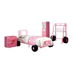 Furniture of America Ramirez Novelty 4-Piece Youth Bedroom Set in Pink