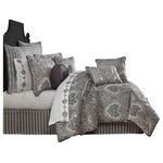 """J. Queen New York - Five Queens Court Silverstone King 4-Piece Comforter Set, Queen - The  Bedding Collection is exquisite with its attention to detail and sophisticated use of silver, charcoal, and black. This beautiful woven damask pattern is rich with its 3-dimensional weave. Paired with matching shams and engineered striped bedskirt, this oversized ensemble will make you feel like a royal. The reverse of this set is microfiber dyed to match the silver color in the face. This collection is finished with a beautiful 1/4"""" black piping. Pair this bedding collection with the  throw pillows, shams, and window treatments for a complete look."""
