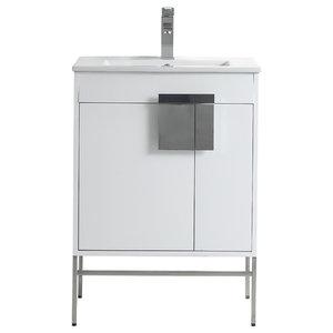 "Kuro Contemporary White Bathroom Vanity, 24"""