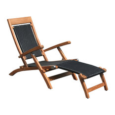 Teak Wood Narmada Outdoor Steamer Chair With Black Webbing, Black