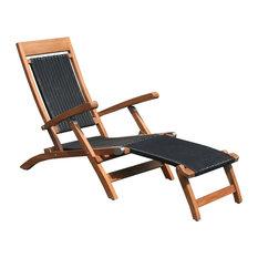 Teak Wood Narmada Outdoor Steamer Chair With Black Webbing, Black