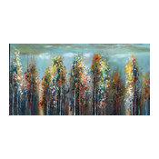 """Colorful Woodland"" Hand Painted Oil Canvas Artwork; Modern Art; Fine Art"