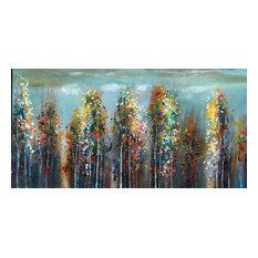 "International Image & Canvas - ""Colorful Woodland"" Hand Painted Oil Canvas Artwork; Modern Art; Fine Art - Paintings"