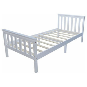 Traditional Single Bed Frame With White Finished Solid Pine Wood