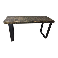 Salvaged Reclaimed Wood Scorched Bench, Industrial Legs, 12x36x18, Scorched