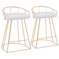 Canary Counter Stool, Set of 2, Gold Metal and White Velvet