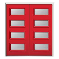 """Clear Low-E 4-Lite Steel Double Door 74""""x81.75"""" Left Hand In-swing"""