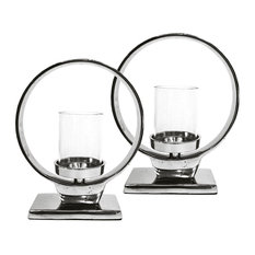 Moments Circle Candle Lights, Set of 2, Silver