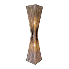 Handmade Hourglass Shade Rattan Floor Lamp