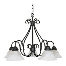 Nuvo Castillo 5-Light Incandescent Chandelier Light Fixture, Textured Black