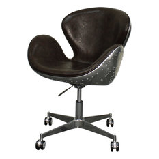 Duval Swivel Office Chair, Distressed Java