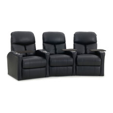 Octane Seating - Octane Bolt XS400 Row of 3 Curved, Manual Recline, Black Bonded Leather, Black B - Theater Seating
