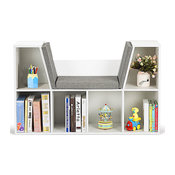 Costway 6 Cubby Kid Storage Cabinet Bookcase Multi-Purpose Shelf Cushioned