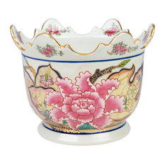 Scallop Rim Porcelain Tobacco Leaf Motif Porcelain Flower Pot