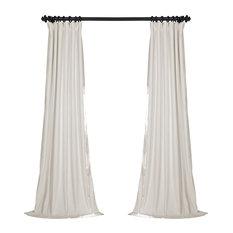 "Signature Off White Blackout Velvet Curtain Single Panel, 50""x96"""