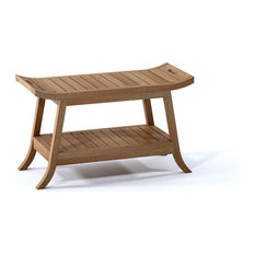 "30"" Outdoor Teak Patio Adelaide Shower Spa Bench with Bottom Shelf"