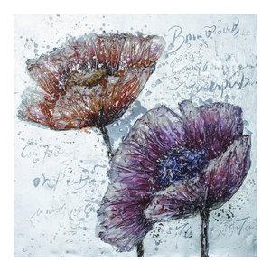 """Warm Flowers"" Mixed Media Art, 100x100 cm"