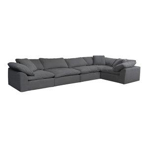 5-Pc Slipcovered Modular Sectional Sofa Performance Fabric Gray