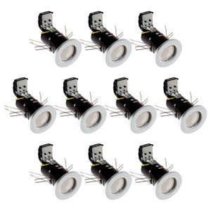 IP20 Fire Rated Recessed Downlighters With LED Bulbs, Set of 10, White
