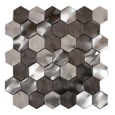 "11.51""x11.51"" Rolling Hexagon Metallix Mosaic, Set Of 4 Stainless Steel/Gunmetal"