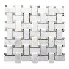 "12""x12"" Carrara White Basketweave Mosaic, Green Dots Honed, Chip Size: 1""x2"""