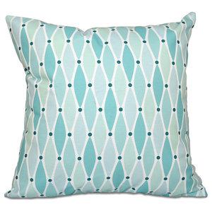 """Wavy, Geometric Print Pillow, Aqua, 20""""x20"""""""