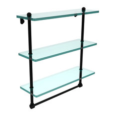 "16"" Triple Tiered Glass Shelf With Integrated Towel Bar"