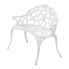 VidaXL Garden Bench, White Cast Aluminium