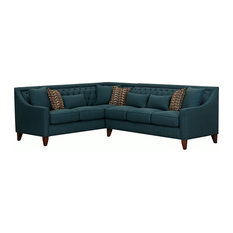 Sectional Sofa Linen Uphostery With Diamond Tufting 9 Accent Pillows Teal