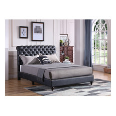Princeton Tufted Upholstered Faux Leather Bed, Black, Full