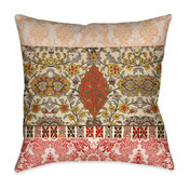 """Laural Home Red Spice Bohemian Tapestry Outdoor Decorative Pillow, 20""""x20"""""""