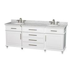 "Berkeley 80"" Double Bathroom Vanity White Carrera Marble Top, No Mirror"