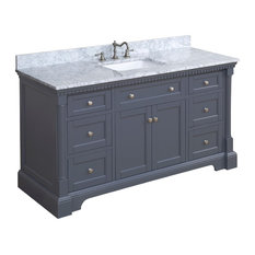 "Sydney Bath Vanity, Charcoal Gray, 60"", Carrara Marble, Single Sink"
