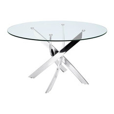 Galaxy Chrome/Clear Glass Dining Table