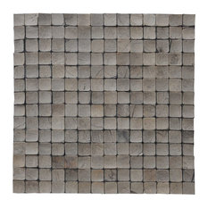 """16.54""""x16.54"""" Tumbled Oyster Shell Coconut Shell Wall Tiles, Set of 6"""
