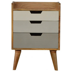 Nordic Style Bedside With 3-Drawer Painted Fronts 2-Toned
