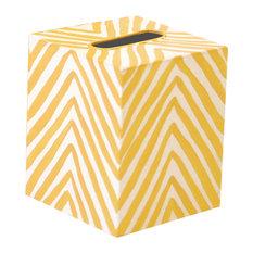 Kleenex Zebra Tissue Box Cover, Yellow/Cream